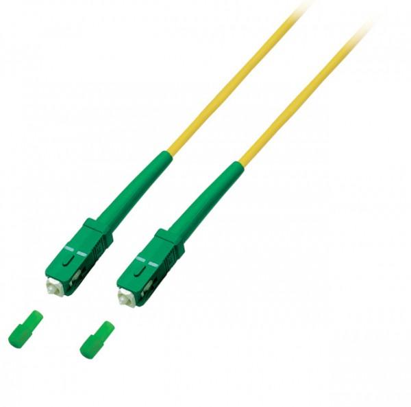 LWL-1-Faser-Patchk. 15mtr.SC(APC8Grad) - SC(APC8Grad), 9/125u, Schrägschliff, simplex