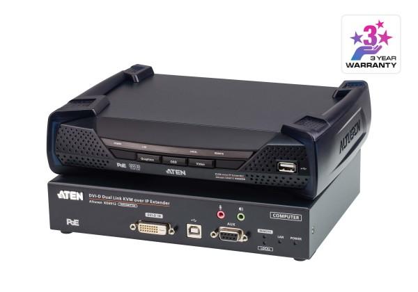 Aten KVM-Extender, over IP, (T+R), DVI-D, mit POE