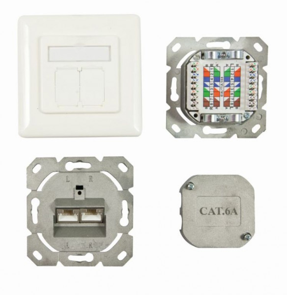 Dosen TP, AP, 2-fach, CAT6A, 500Mhz, Reinweiss, senkrechter Kabeleingang, Synergy 21,