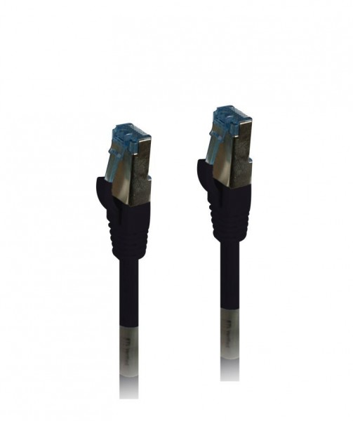 Patchkabel RJ45, CAT6A 500Mhz, 0.25m, schwarz, S-STP(S/FTP), PUR(Außen/Outdoor/Industrie), AWG26, Synergy 21