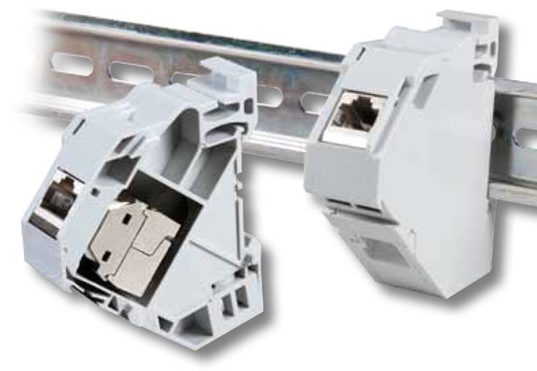 Keystone, Modulträger, DIN Rail, für 1xTP-Modul, Hutschienenadapter,