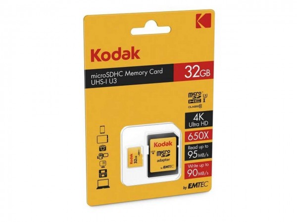 Flash MicroSDHC 32GB Kodak +Adapter CL10 UHS-I U3 95MB/s Blister
