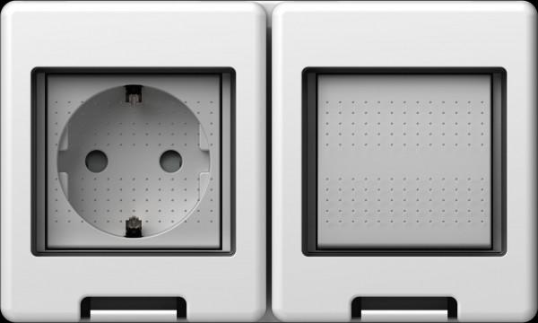 TEM Serie Modul Aufputzgehäuse IP55 BOX CUBO 2*2M Schalter+Schutzkontakt