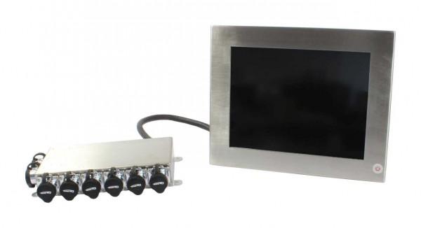 ALLNET AIO PC IP65 industrial stainless steel, 10,4 Zoll Touch, Intel Core i3, 4GB/64GB, Wlan, RJ45, USB, Wandmontage etc.