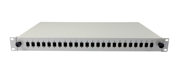 """LWL-Patchpanel 24xLC-Duplex-Buchsen19"""", ohne LC-Kupplungen, Lichtgrau, Synergy 21,"""