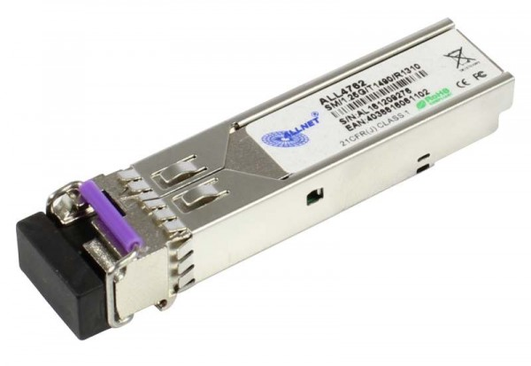 ALLNET Switch Modul ALL4762 SFP(Mini-GBIC), 1000Mbit, WDM(Bidi)/LC, Tx1490nm/Rx1310nm, 9u, 20Km,