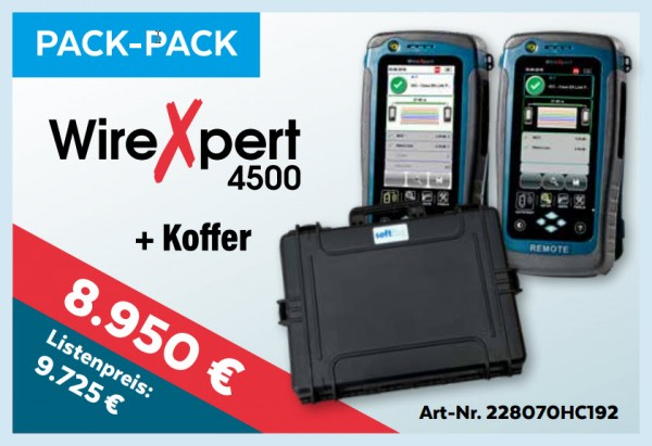 softing(Psiber) NetXpert 4500+Koffer, Promo bis 15.1.2020, Mess-Menü, Pack-Pack,