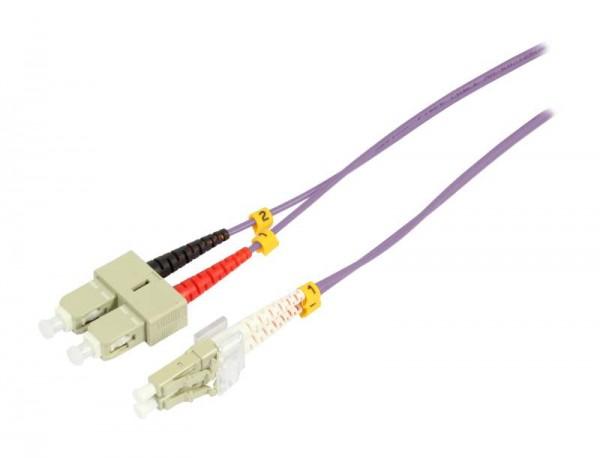 LWL-2-Faser-Patchk. 5mtr.LC-SC, 50/125um, OM4, AD=2mm, Synergy 21