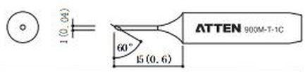 ATTEN T900-1C / Ersatzlötspitze 1mm schräg 60°