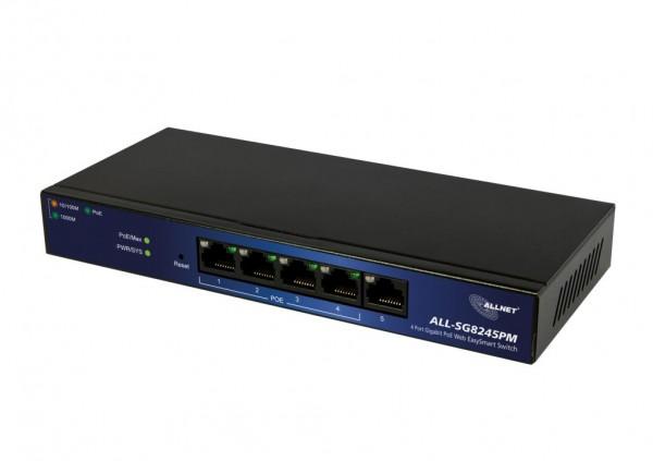 "ALLNET Switch smart managed 5 Port Gigabit 60W / 4x PoE+ / 1x LAN / Lüfterlos ""ALL-SG8245PM"""