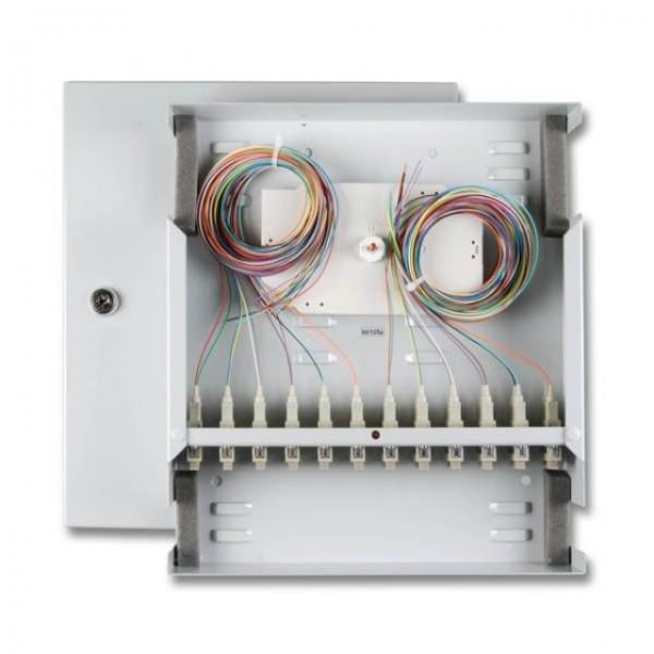 LWL-Wandverteiler mini, Spleissgehäuse, 12xSC, OM2, incl.Pigtails/Kupplung, bestückt,