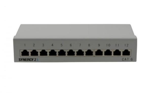 Patch Panel 12xTP, CAT6, 250Mhz, Aufputz ,Lichtgrau, Synergy