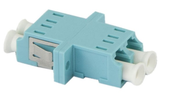 LWL-Kupplung, LC-Buchse/LC-Buchse, 50/125u Multimode, duplex, PVC, Keramikhülse, OM3, mit Flansch, Synergy 21