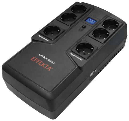 Effekta Line-Interaktive-USV, 800VA, USB, PVC-Gehäuse, Office Home 800, Lüfterlos,
