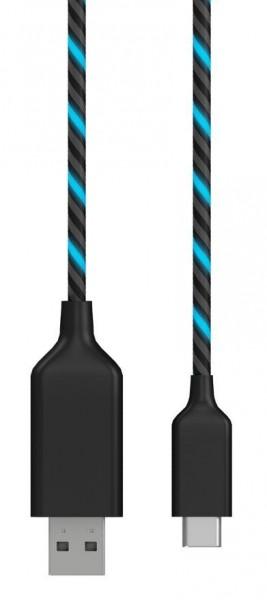 ICY Box USB 3.1 Type C Datenkabel auf USB 2.0 Type A, elektrolumineszentes Kabel, IB-CB022EL-C,