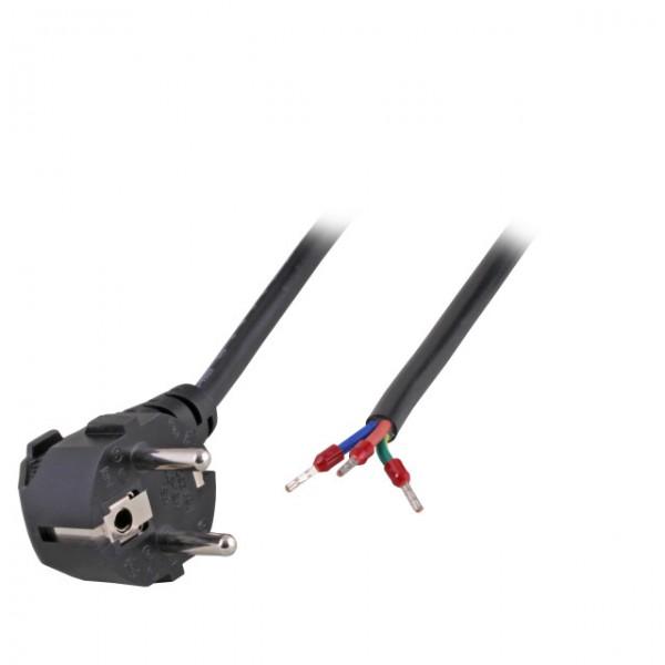 Netzkabel 230V Schutzkontakt CEE7(Stecker)->Open End mit Adernendhülsen, 1,8m, Black
