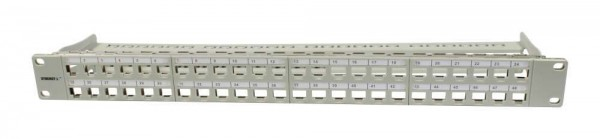 "Patch Panel 48xTP, CAT6A, incl.Keystone Slim-line(mit Staubschutzklappe), 19"", 1HE(t95mm), Lichtgrau, Synergy 21,"