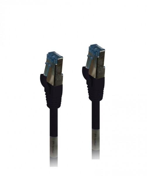 Patchkabel RJ45, CAT6A 500Mhz, 0.25m, schwarz, S-STP(S/FTP),PUR(Außen/Industrie), Synergy 21