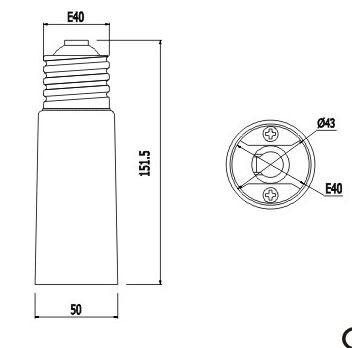 Synergy 21 LED Adapter für LED-Leuchtmittel E40->E40 lang