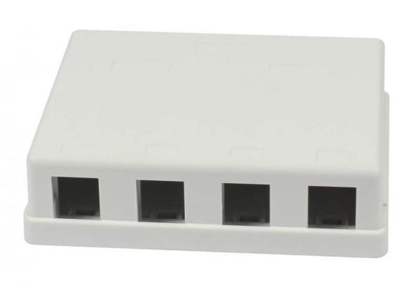Patch Panel 4xTP, CAT6A, incl.Keystone Slim-line mit Staubschutzklappe, Aufputz PVC, Weiss, Synergy 21,
