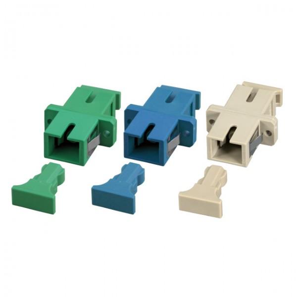 LWL-Kupplung, SC(APC)-Buchse/SC(APC)-Buchse, 9/125u Singlemode, simplex, PVC, Keramikhülse, grün,