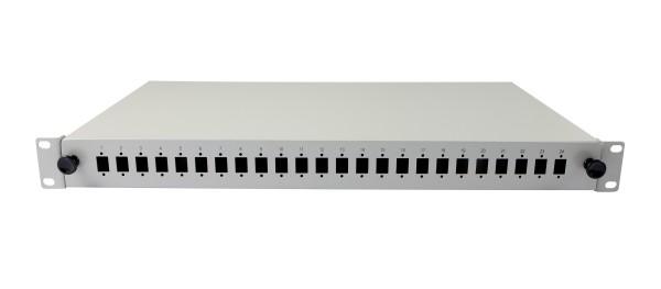 """LWL-Patchpanel für 24xLC-Duplex-Buchsen, 19""""/1HE, ohne LC-Kupplungen, Lichtgrau, Synergy 21,"""