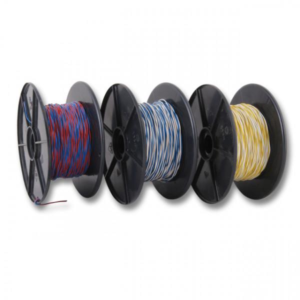 LSA+ TK Schaltdraht YV 2x0, 6/1, 1 weiss/schwarz, PVC, 100m Rolle