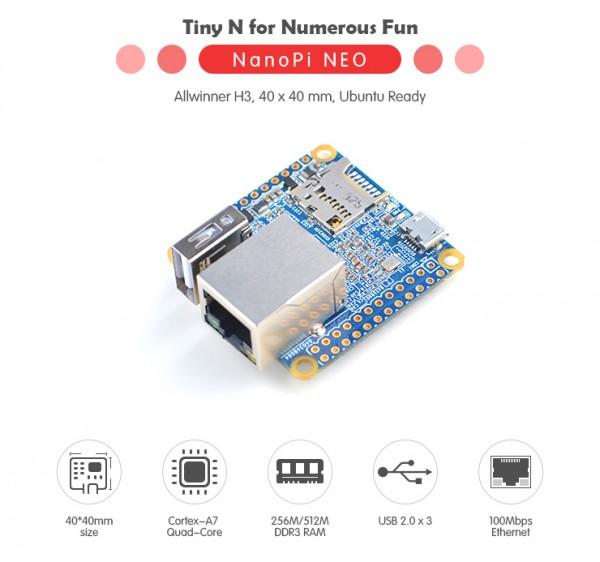 FriendlyELEC NanoPi Neo v1.31 - 512MB QuadCore Allwinner H3 Quadcore A7 1,2ghz