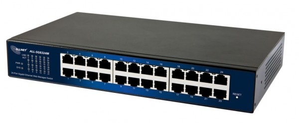 "ALLNET Switch smart managed 24 Port Gigabit / 24x LAN / Lüfterlos / 19"" / ""ALL-SG8324M"""