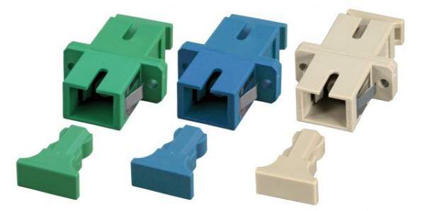 LWL-Kupplung, SC-Buchse/SC-Buchse, 9/125u Singlemode, simplex, PVC, Keramikhülse, blau,